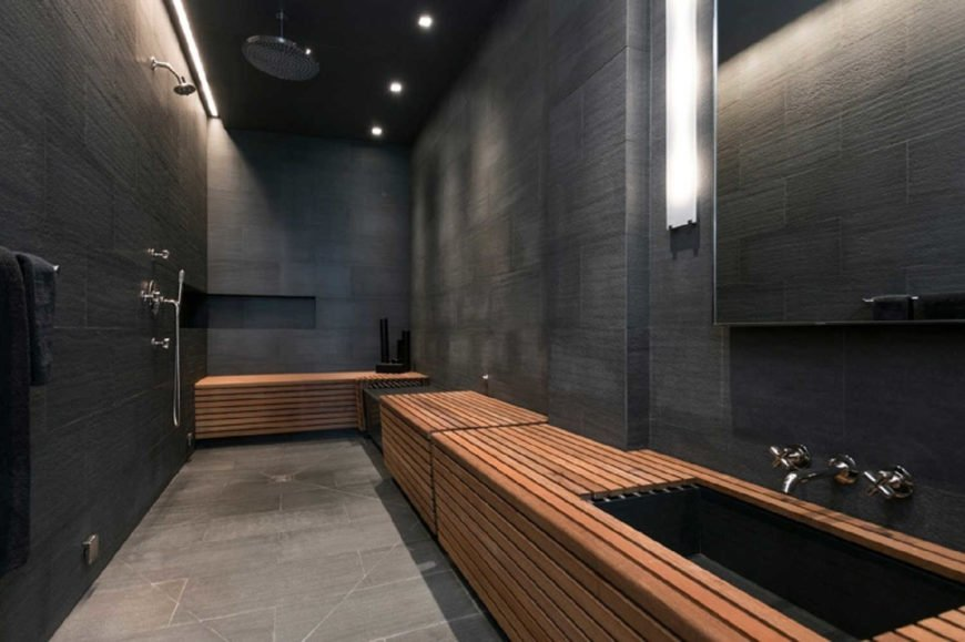 Contemporary master bathroom featuring a stylish sink and an open shower, surrounded by black walls and ceiling.