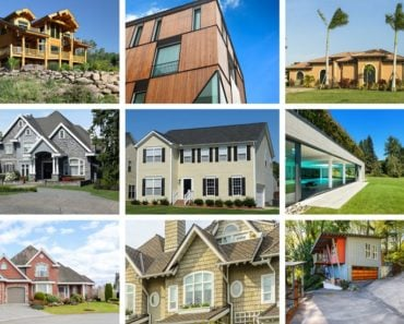6 houses with different types of siding.