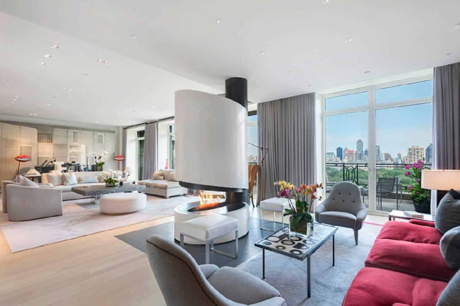 Living rooms with fireplaces - 9sting_15 Central Park West