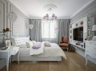 Glam style master bedroom with incredible curtains