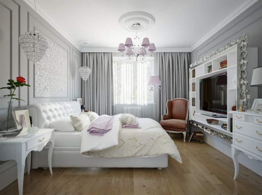 Glam style primary bedroom with incredible curtains