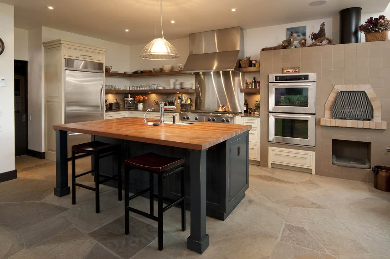 Kitchen with stone flooring