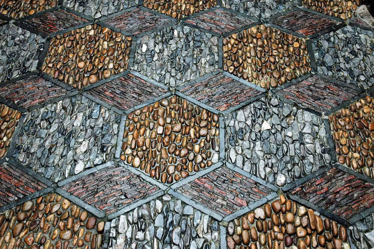 Pebble tile for kitchen floor