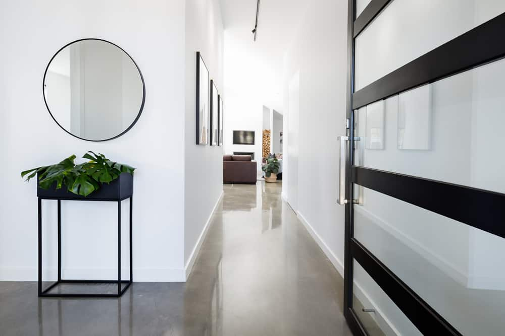 Polished concrete floor in hallway