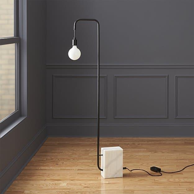 Stone base floor lamp