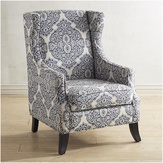 Blue and white upholstered accent chair