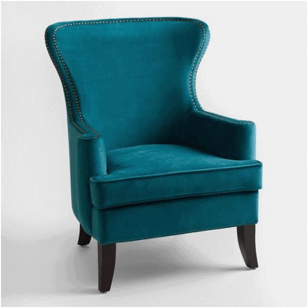green wingback accent chair