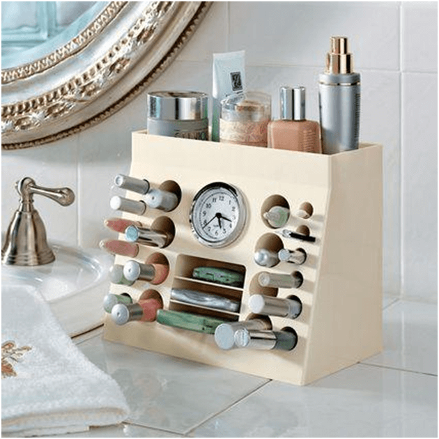 Makeup storage unit for bathroom counter