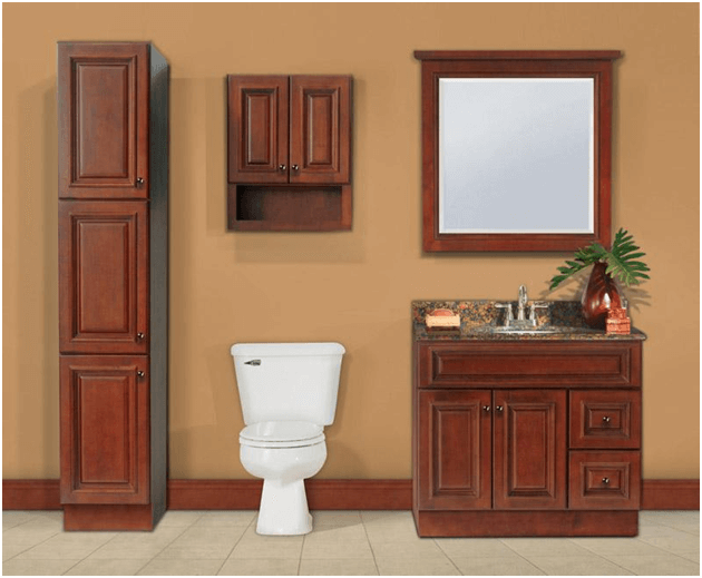 Floor and wall cabinets for bathroom