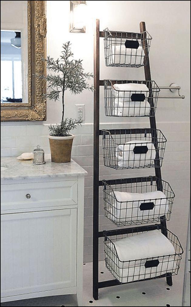 Ladder shelf for bathroom for towel storage