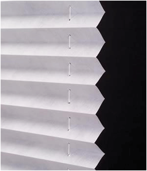 White pleated shades