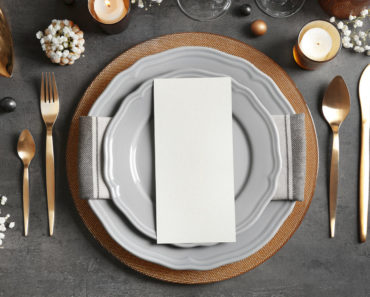 Dining table setting with dishare
