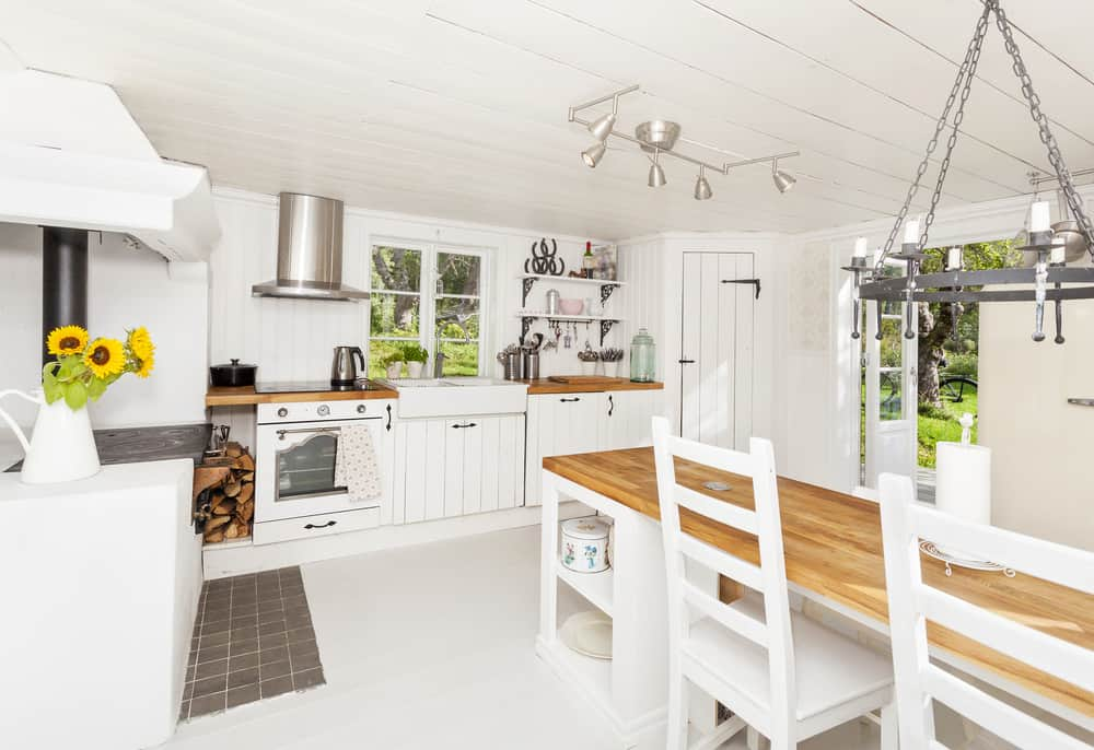 Farmhouse style kitchen with plenty of white.
