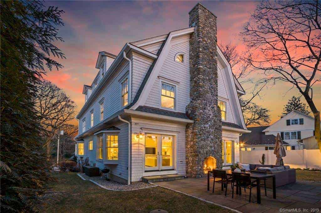 Very Nice White Connecticut House with Gambrel Roof