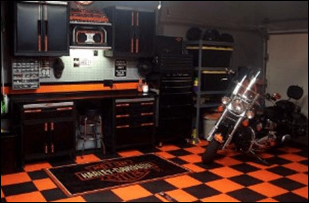 Black red checkered garage floor
