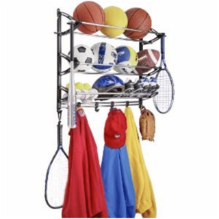 Sporting equipment storage rack (wall mounted) for the garage