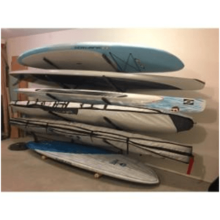 Surfboard and stand up paddle board storage rack for the garage