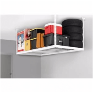 Suspended from ceiling shelves for the garage