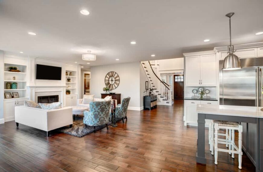 Great room with gorgeous hardwood flooring throughout.