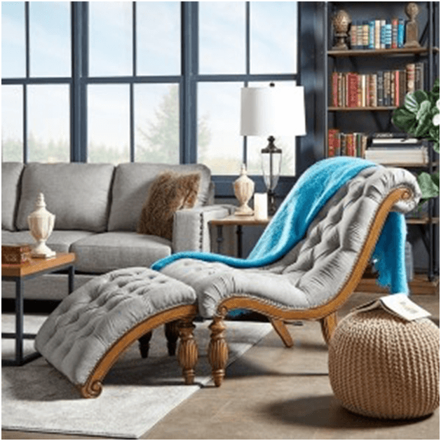 Wood framed chair style curved chaise lounge