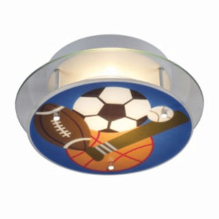 Sports-themed flushmount ceiling light for kids room