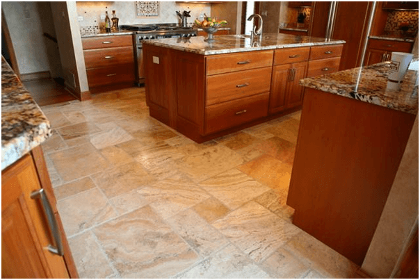 Travertine Tile Kitchen Flooring