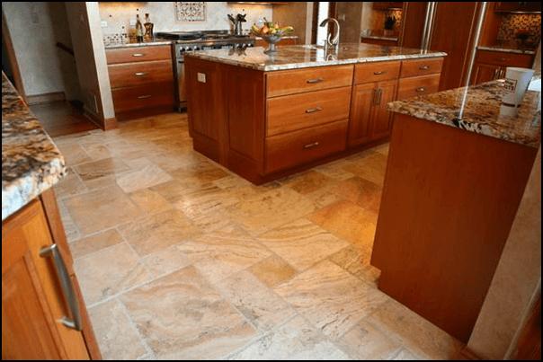 Travertine Tile Kitchen Flooring