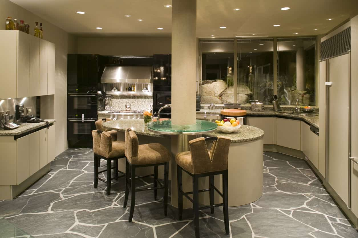 kitchen with slate flooring
