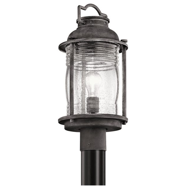 A postmount light perfect for illuminating a patio or a deck.