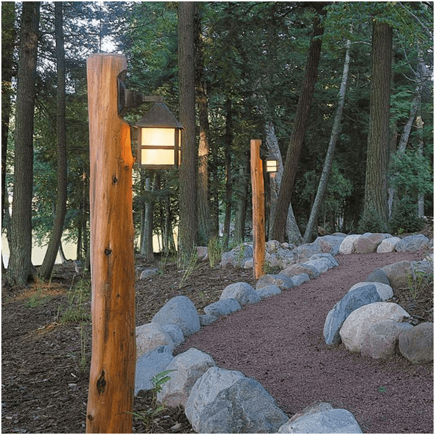 Give your home a cozy cabin look with rustic fixtures. An outdoor lighting that promotes class, variety and function.
