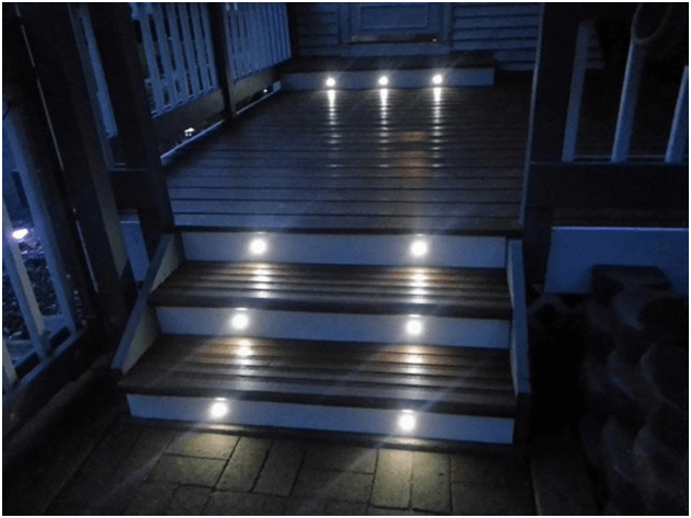 Step lights are installed into outdoor stairs and steps to provide safe passage and improve its visual appeal at night.