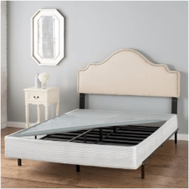 Photo of a box spring on bed.