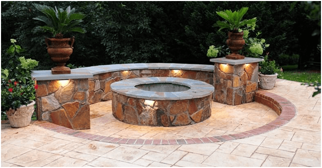 Built in Firepit on patio