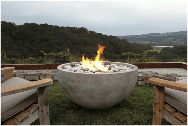 Concrete fire bowl for the backyard