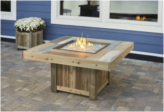 Gas fire table for the patio