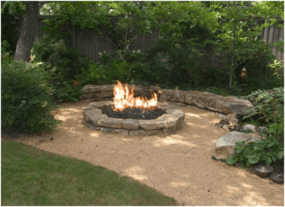 Campfire pit on patio in the backyard