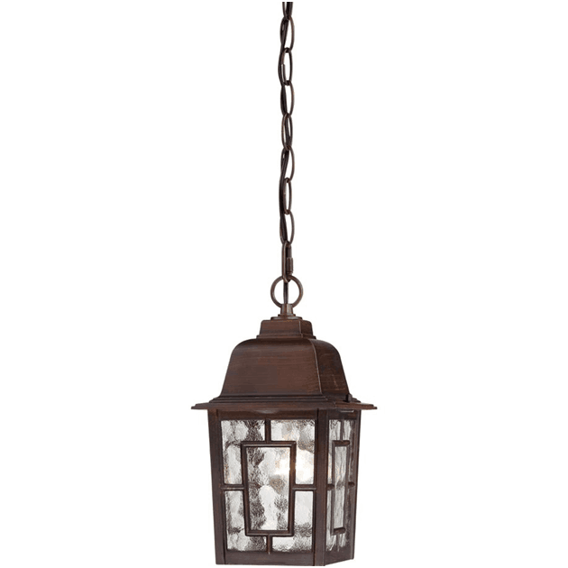 Traditional hanging fixtures feature sophisticated details and rustic materials to provide a vintage look to an outdoor area.