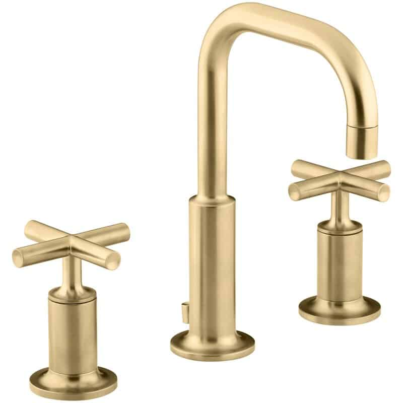 The Purist Widespread bathroom faucet from Wayfair.