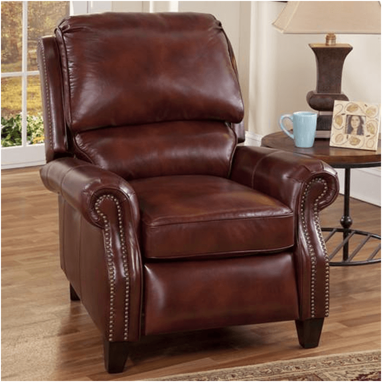 Deep red, rich leather Churchill II Recliner chair
