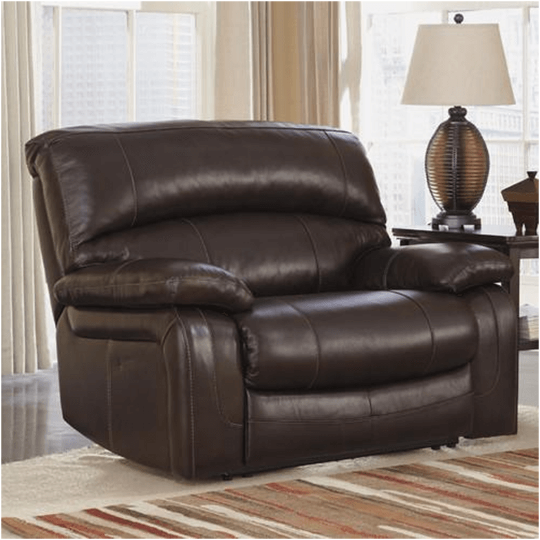 Brown leather Dormont Zero Wall Wide Seat Recliner.