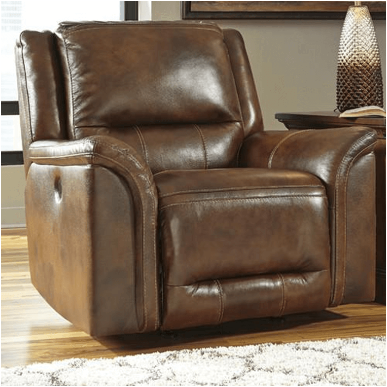 Brown leather Jayron Rocker Recliner chair