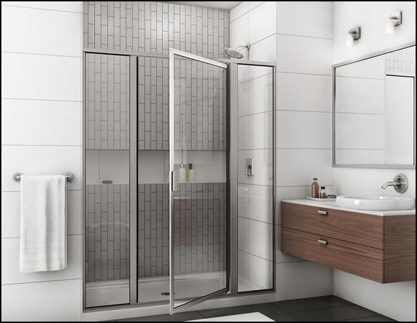 Shower with pivot door