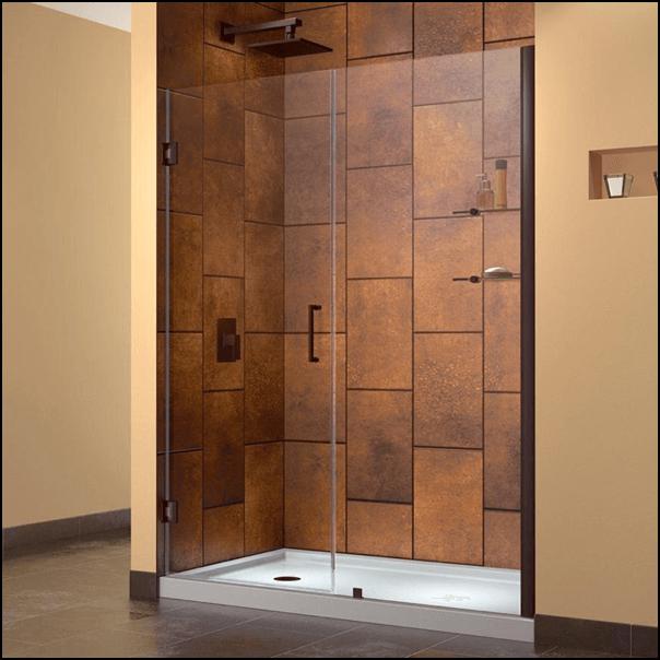 Shower with hinged door