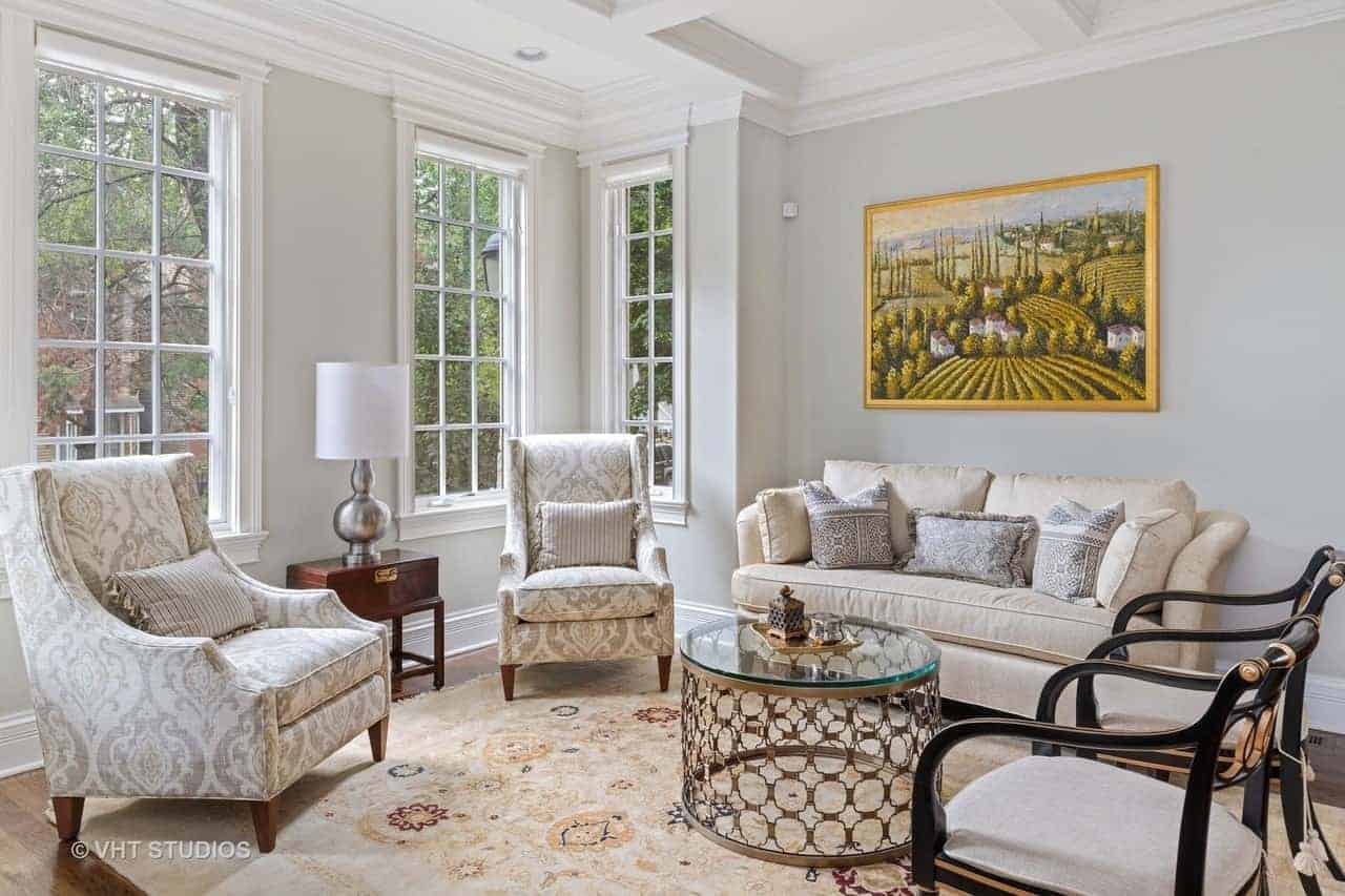 Tudor Home in Roscoe Village Featuring Elegant Coffered Ceilings