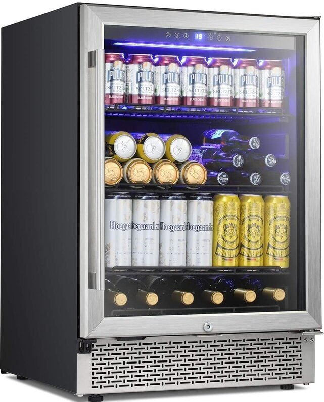 The R.W. Flame 46 Bottle Wine Cooler with Beverage Storage from Wayfair.