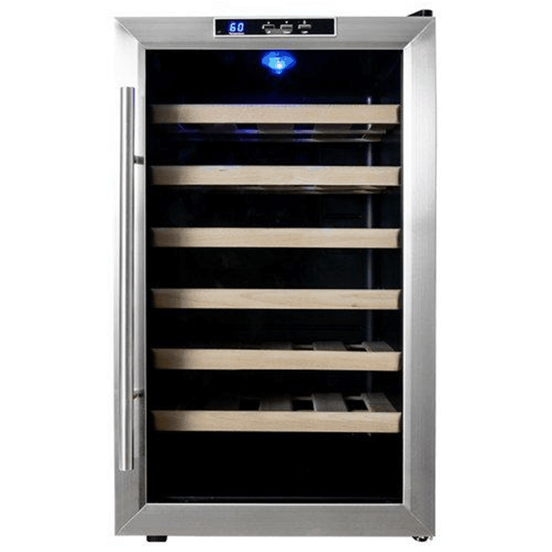 Compact wine fridge that holds 28 bottles.