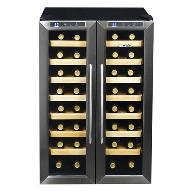 Double-door compact wine refrigerator stores 32 bottles of wine.