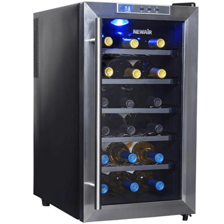 Super small wine fridge that stores 18 bottles.