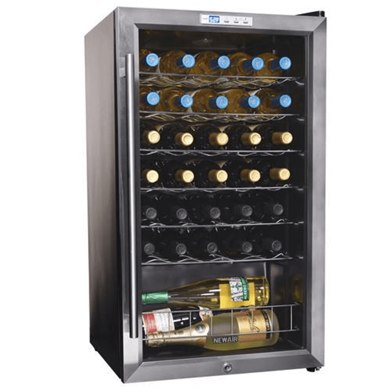 Compact wine fridge that can store larger wine bottles.