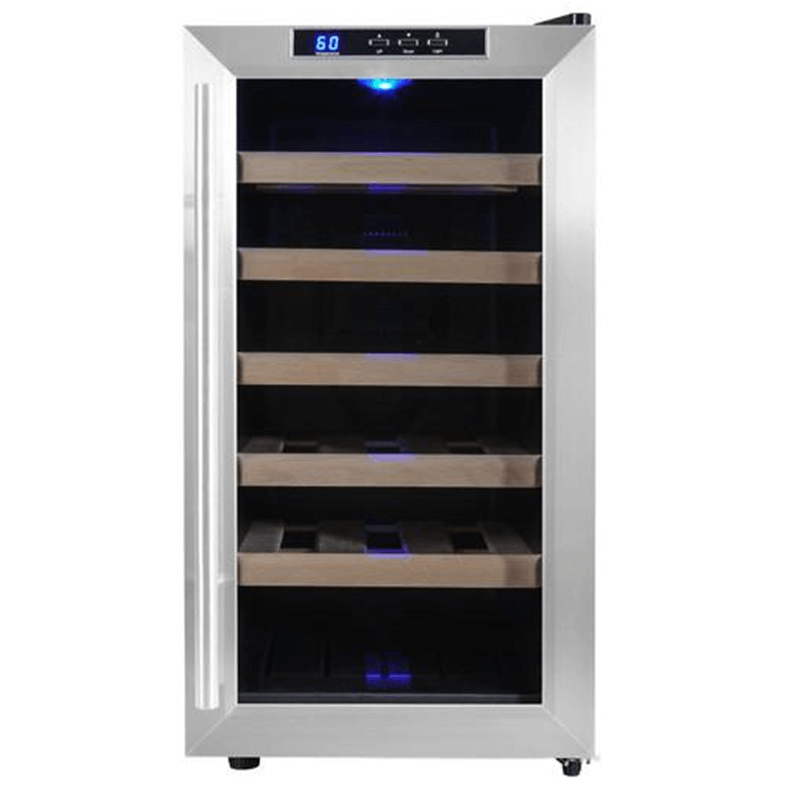 Attractive multi-shelf small wine refrigerator.